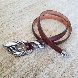 Brighton brown leather crocheted belt